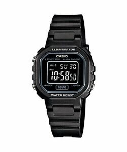 CASIO-LA-20WH-1B-Standard-Digital-Women-039-s-Dress-Chrono-Alarm-Resin-All-Black