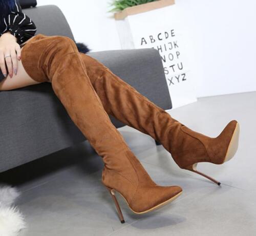 Chaussures femme en daim bout pointu au-dessus Du Genou Talon Haut Slim Knight Boots Parti Stilettos