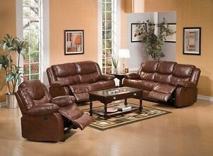 Motion 3pc Sofa Set Modern Brown Bonded Leather Couch Cushioned Sofa Recliner
