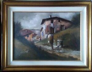Framed-Oil-On-Canvas-Signed-Guido-Borelli-Da-Caluso-Walk-Back-To-The-Village