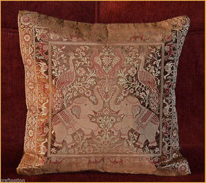 BROWN-COLOR-SILK-BROCADE-HAND-WOVEN-PILLOW-CUSHION-COVER-FROM-INDIA