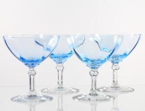 Fostoria-Blue-Vintage-Saucer-Champagne-Glasses-Elegant-1930s-Crystal-Stems