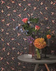 EUR-2-81-qm-Tapete-Rasch-Textil-288666-Petite-Fleur-4-Floral-Voegel-Schwarz