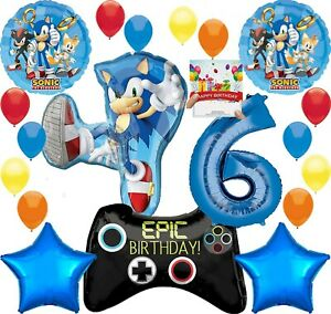Sonic-Party-Supplies-Video-Gamers-6th-Anniversaire-Ballon-Decoration-Bundle