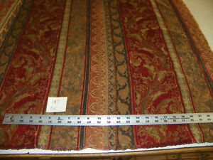 Red Gold Green Brown Stripe Fabric Upholstery Fabric 1 Yard R447