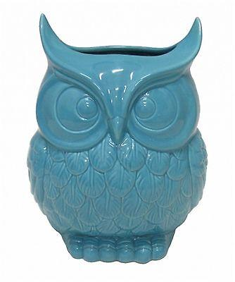 Glossy Blue Ceramic Owl Design Flower Vase  ~ Classic Design ~ Home Decor