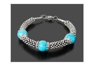 010 Beautiful Tibet Silver Turquoise Bead Bracelet