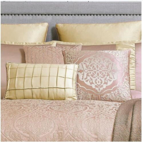 Luxurious Jacquard Silky Gold Blush Pink Comforter 10 pcs King Queen Bedding Set