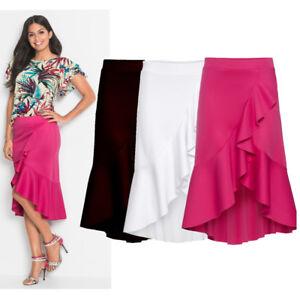 UK-Women-Asymmetric-Ruffle-Skirt-Summer-Gypsy-Lady-Beach-Mini-Loose-Casual-Dress