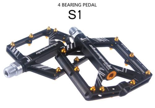 "Aluminum MTB Mountain Road Bike 4 Bearings Pedals flat Bicycle Pedal 9//16/"" Black"