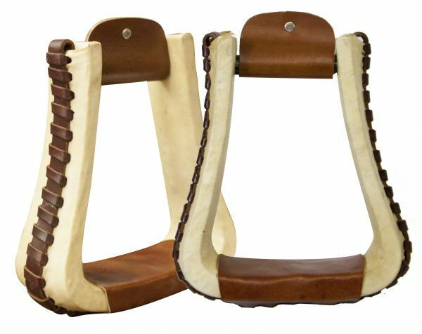 Showman RAWHIDE Covered LEATHER Laced 3  wide Pleasure Style Western STIRRUPS