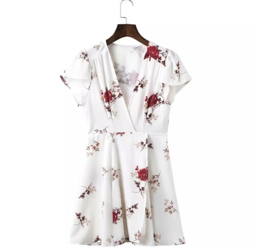 UK Women/'s Summer Beach Red White Floral Print Mini Cape Cover Up Sun Dress 6-12