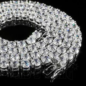 18k-White-Gold-1-Row-5MM-Lab-Diamond-Iced-Out-Chain-Men-039-s-HipHop-Tennis-Necklace