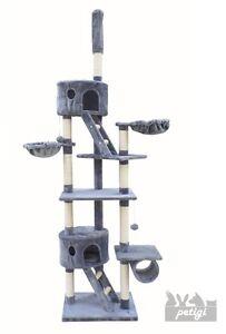 Arbre à chat Petigi, gris clair, poteau à griffer, plafond, hauteur 240-260 cm, sisal