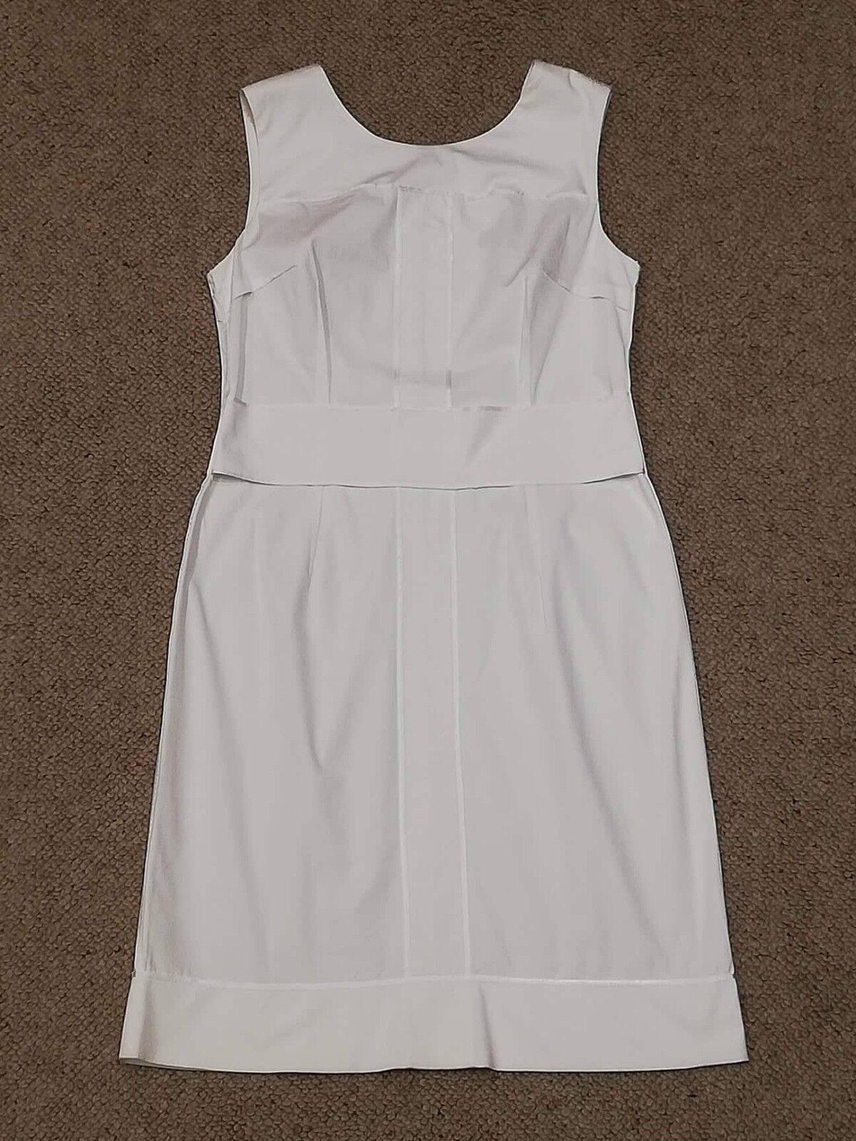 Apostrophe White Sleeveless Shift Fitted Pencil Cotton Dress Size 42 FR  14UK