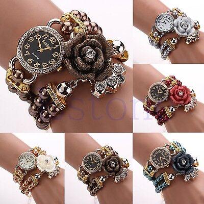 Women Faux Pearl Rose Quartz Rhinestone Bracelet Round Dial Chain Wrist Watch