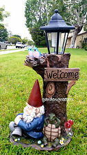 GNOME  WITH SOLAR LIGHT STATUE SOLAR GNOME BLUE BIRD LANTERN FIGURINE