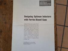 Designing Optimum Inductors with Ferrite-Biased Gaps 1959 Electronics
