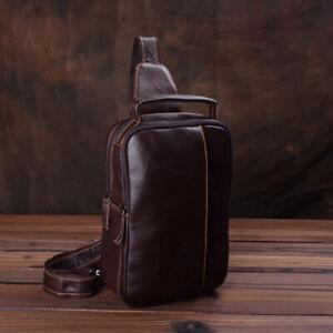 Men-039-s-Real-Leather-Sling-Backpack-Chest-Pack-Single-Strap-Shoulder-Daypack-Bag