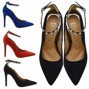 Mujer Tacón Stiletto Tira al Tobillo Zapatos De Las Señoras Del Tribunal Fiesta Formal Sandalias Informales