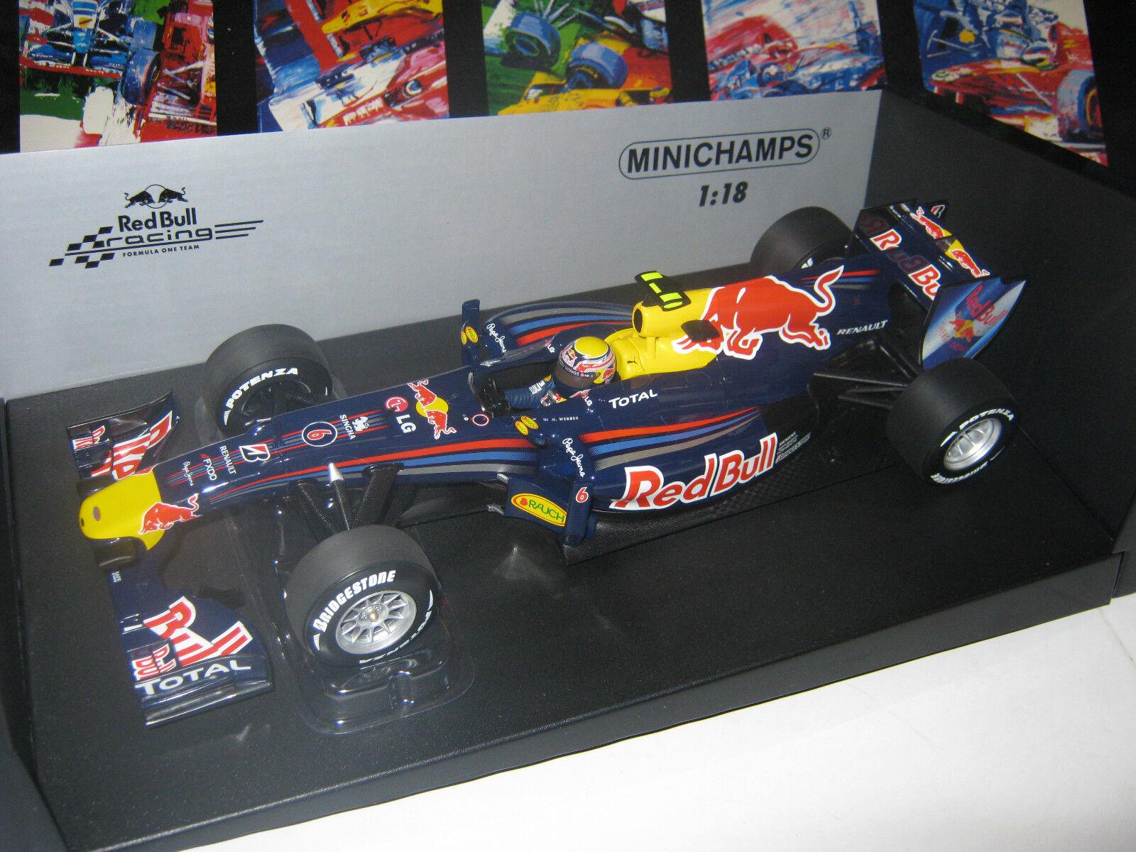 1:18 rosso Bull Renault rb6 M. Webber 2010 11010006 Minichamps OVP NEW