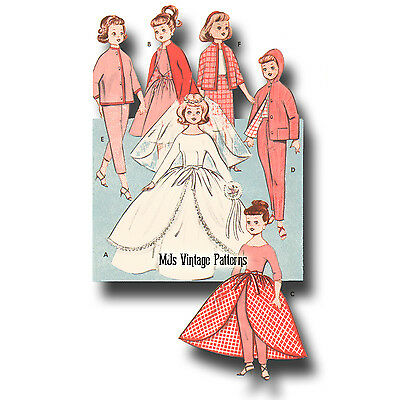 """Vtg 50s Doll Clothes Pattern WHOLE WARDROBE ~ 8/"""" Ginny Wendy Muffie"""