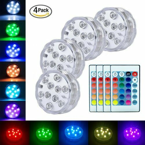 Underwater Submersible Led Lights Rgb Remote Control Battery Operated Waterproof For Sale Online