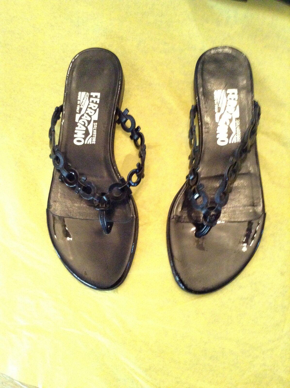 diseño único Excelente Estado Ferragamo Para Mujer Negro Sandalias De De De Logotipo - 6B  tienda en linea