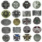 Mens Vintage Celtic Irish Cross Skull Leather Belt Buckles Lot Western Cowboy