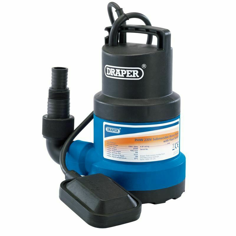 Draper 125L/Min Submersible Water Pump with Float Switch (350W) (61668)