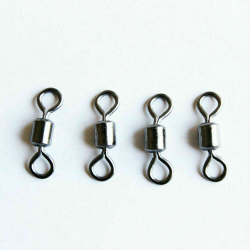 100pcs//lot Fishing Barrel Bearing Swivel Stainless Steel Solid 8 Ring Connector
