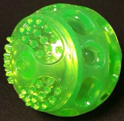 """Dog Toy Squeaky Durable TPR SELF HEALING Rubber Ball Green 3"""" Gentle Teeth Gums"""