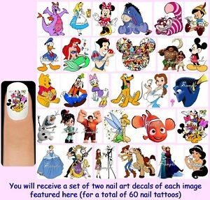 60x-DISNEY-CHARACTERS-Nail-Art-Decals-Free-Gems-Mickey-Minnie-Mouse-Princesses