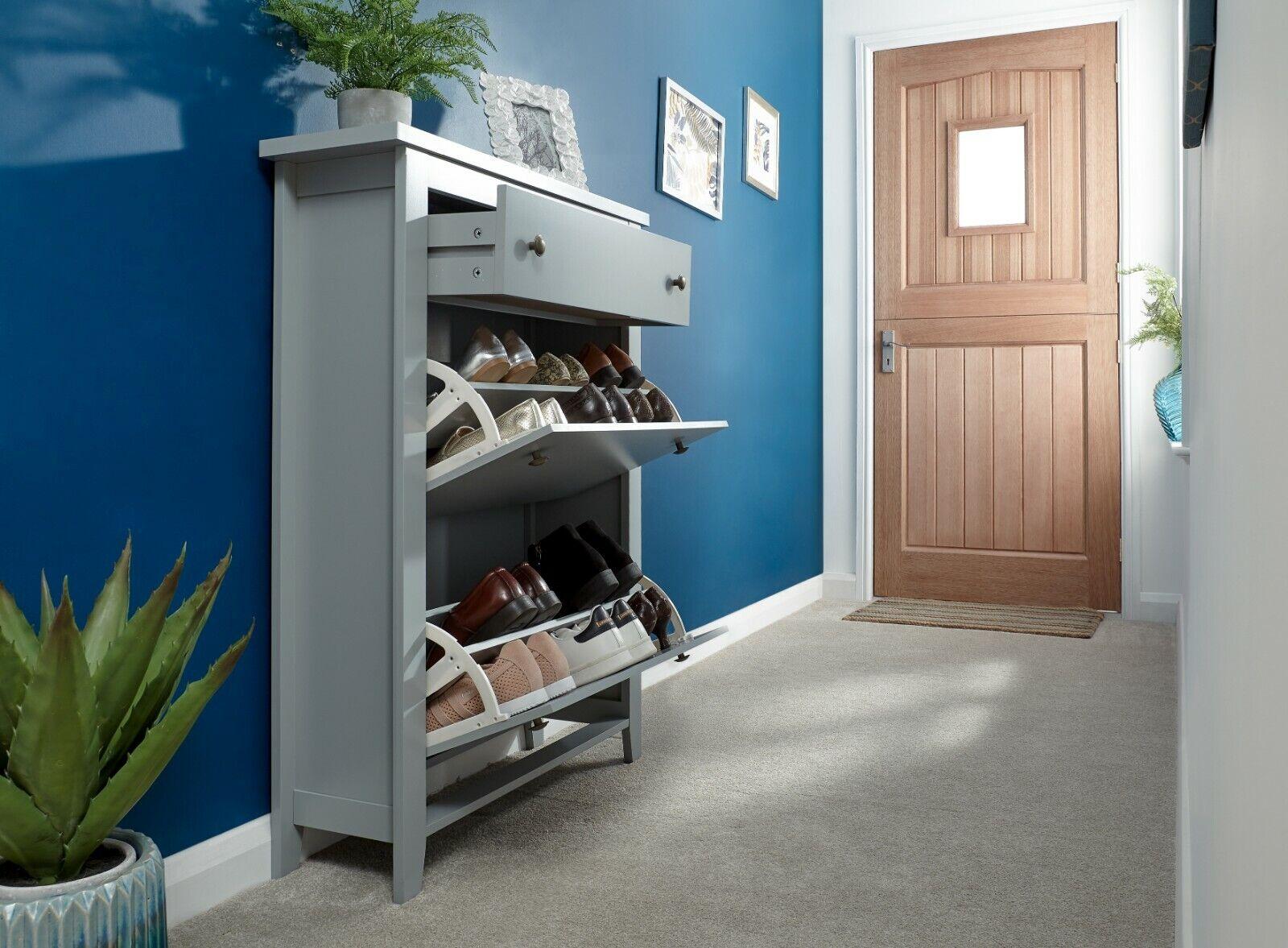 Deluxe Shoe Cabinet 2 Tier Pull Down 2 Door Shoe Storage With Drawer Grey For Sale Online Ebay