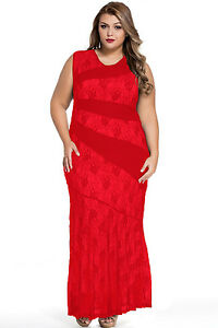 Plus Size Red Lace Maxi Evening Dress Gown Party Prom Gala Dinner