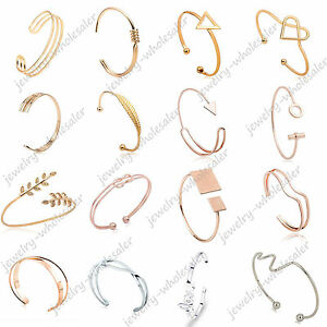 Lots-Fashion-Women-Gold-Silver-Punk-Cuff-Bracelet-Bangle-Chain-Wristband-Jewelry