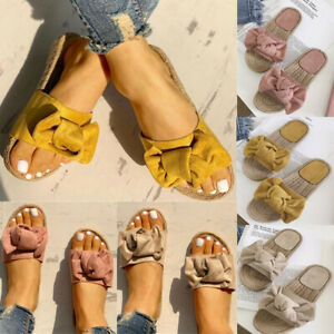 Women-Summer-Cute-Bow-Espadrilles-Sandals-Slides-Slippers-Beach-Casual-Shoes-US
