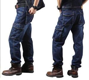Casual-Mens-Jeans-Denim-Pant-Cargo-Combat-Pants-Tactical-Loose-Trousers-Overalls