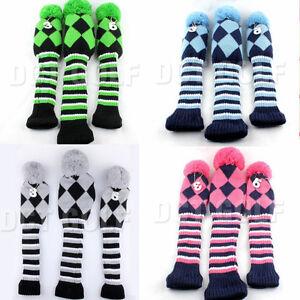 USA-3pcs-Golf-NEW-Pom-Pom-Knit-Headcover-Fairway-Woods-Driver-Hybrid-Head-Covers