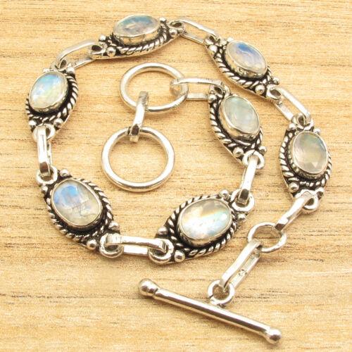 """925 Plaqué Argent Bleu Shine Rainbow Moonstone Gems parfait art Bracelet 7.9/"""""""