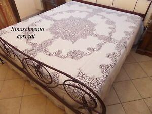 COPRILETTO-MATRIMONIALE-RICAMO-MANO-PURO-LINO-CANTU-COPERTA-2-PIAZZE-BIANCO-1885