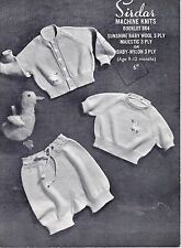 b37b885b0 Vintage Machine Knitting Pattern for Baby Cardigan and Sweater for ...