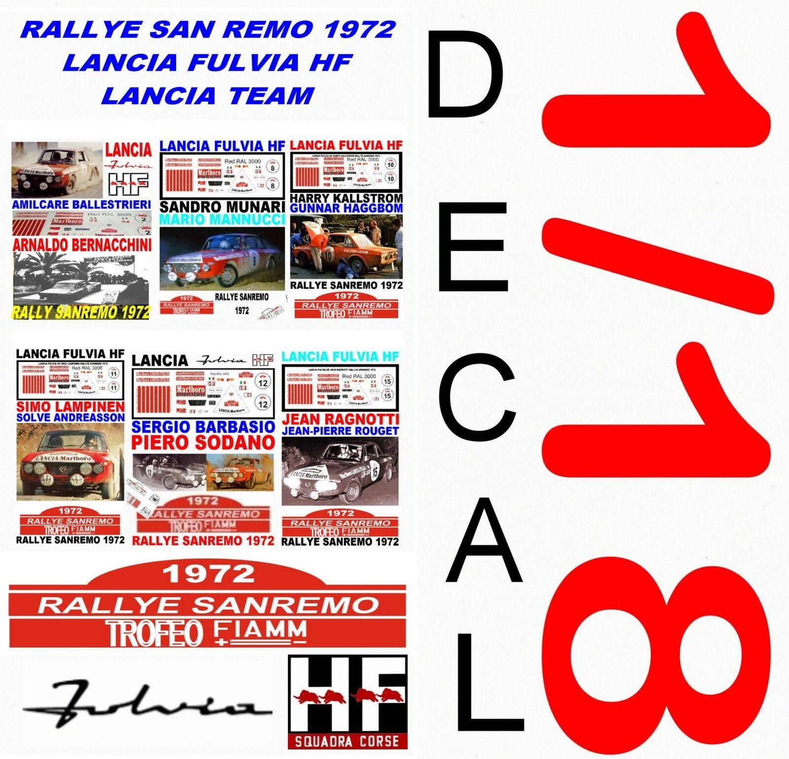 tiendas minoristas DECAL 1 18 SET RALLYE SAN REMO 1972 1972 1972 LANCIA FULVIA HF LANCIA TEAM (03)  calidad de primera clase