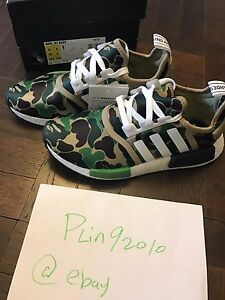brand new bb5ab f437d Details about BAPE x Adidas NMD R1 COLLAB GREEN CAMO US 6.5 OLIVE ARMY BLACK
