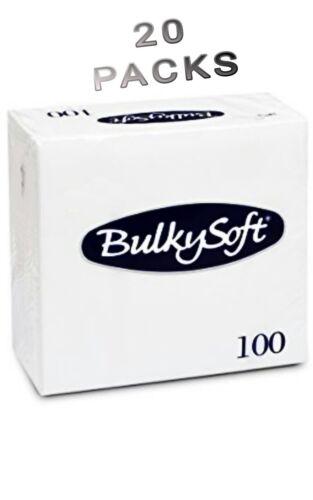 20 Packs Blanc Volumineux Soft Pack de 100 2 plis serviettes serviettes 33X33 cm NEUF