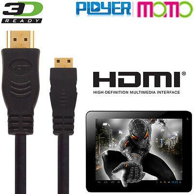 Focoso Ployer Momo 7, 8, 9, 11, 12, 15, 19, 20 Tablet Hdmi Mini A Tv 3m Cavo Di Piombo-mostra Il Titolo Originale