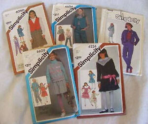 5-VINTAGE-1980-039-S-GIRLS-CLOTHES-SEWING-PATTERNS-Lot-3