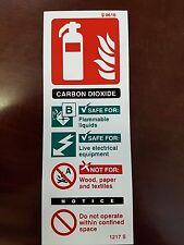 Signo de fuego extinguiser dióxido de carbono 200mm X 75mm de plástico rígido