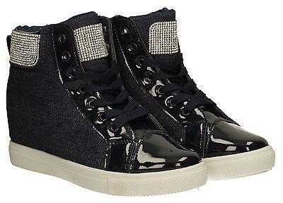 Botas para mujer cuña de Mezclilla con Cordones Zapatillas Botas al Tobillo Zapatos De Las Señoras Azul Oscuro