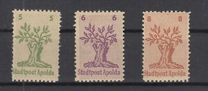 BY6966/ GERMANY – RUSSIAN ZONE – APOLDA – MI # 1 / 3 COMPLETE MINT MNH